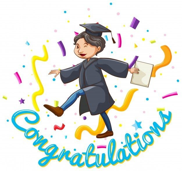 Congratulations card template with man holding degree Vector ...
