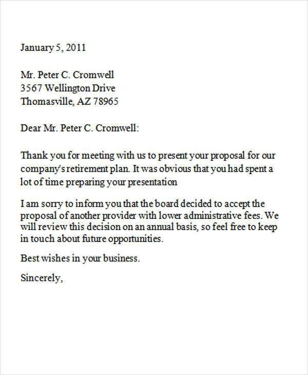8+ Business Rejection Letters - Free Sample, Example Format ...