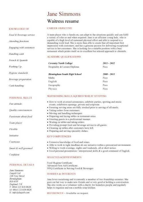 Waitress cover letter example, tips and suggestions, waiter ...