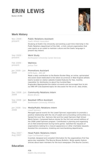 Public Relations Assistant Resume samples - VisualCV resume ...