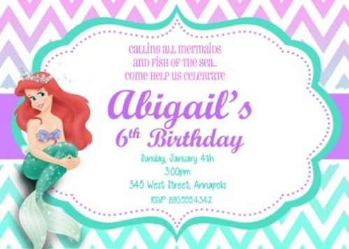 Little Mermaid Party Invitations Which Various Color Combination ...