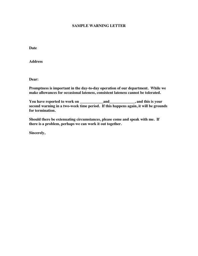 Sample Warning Letter   Resume Templates