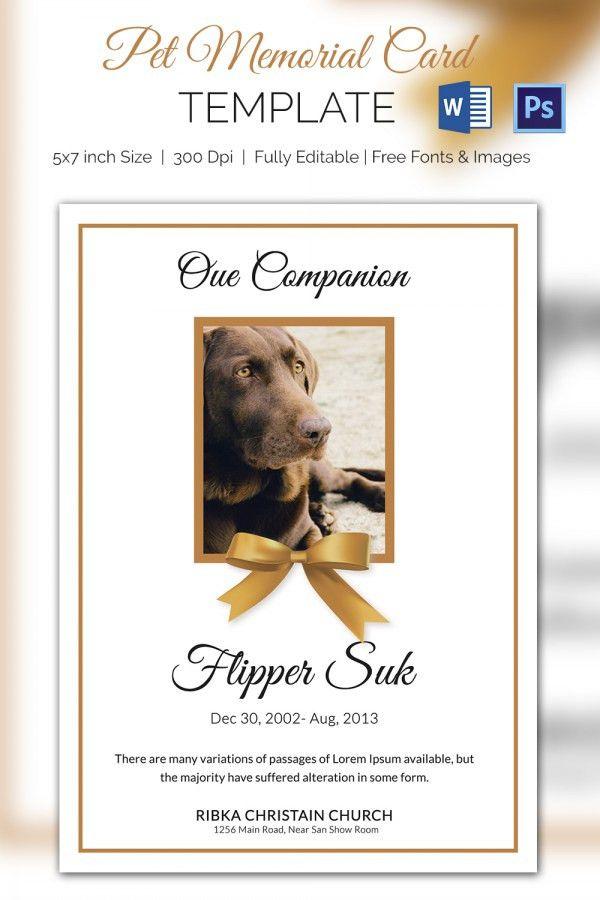 Pet Memorial Card - 5+ Word, PSD Format Download | Free & Premium ...