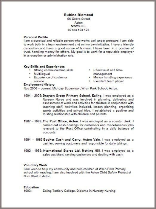 a cv pattern - Free resume examples cv templates