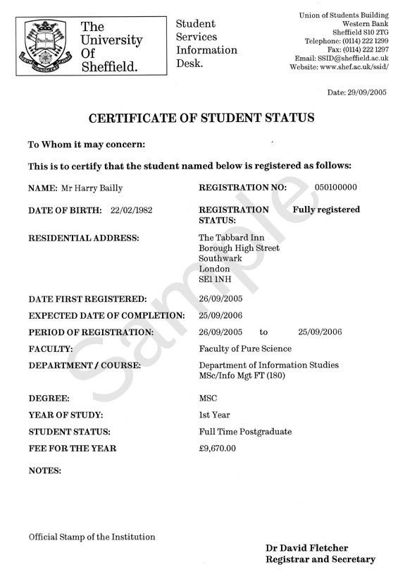 Example: term time address - Certificate of Student Status - SSiD ...