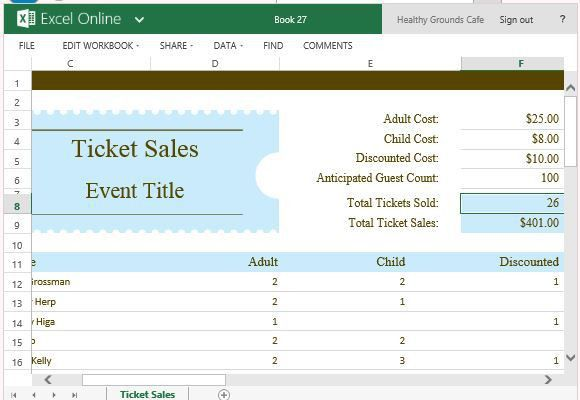 Ticket Sales Tracker Template For Excel