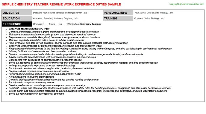 Resume for a chemistry lab technician