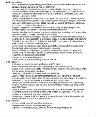 Superior Master Scheduler Job Description Sample   8+ Examples In Word, PDF