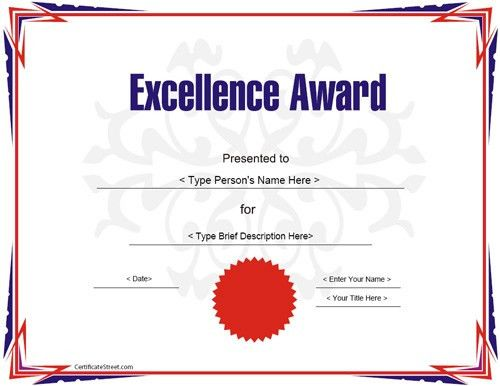 Education Certificate - Award Certificate Template for Excellece ...