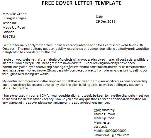 free cover letter template general manager cover letter word ...
