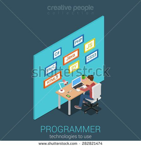 Flat 3d isometric program software app developer workplace concept ...