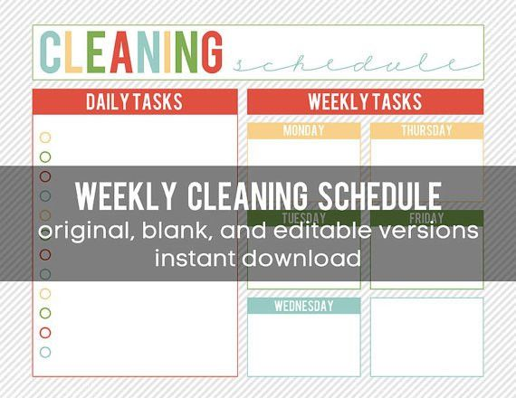Printable Weekly Cleaning Schedule - editable and INSTANT DOWNLOAD ...