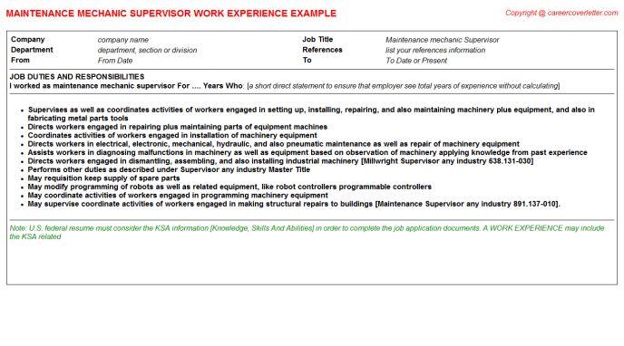 Conveyor Maintenance Mechanic CV Work Experience Samples