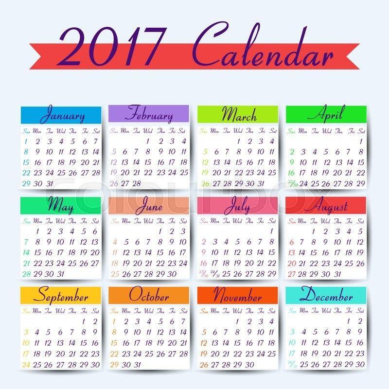Calendar 2017. Vector calendar template ready to print | Stock ...