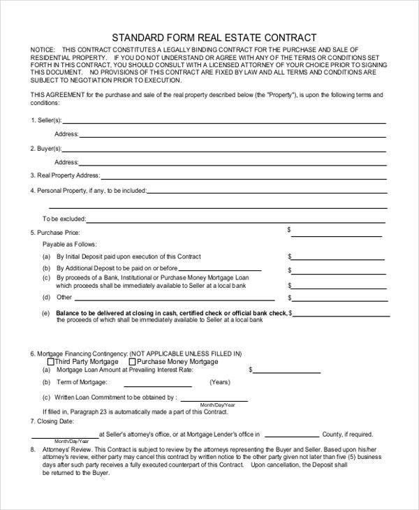 Sample Real Estate Form - 10+ Free Documents in Doc, PDF