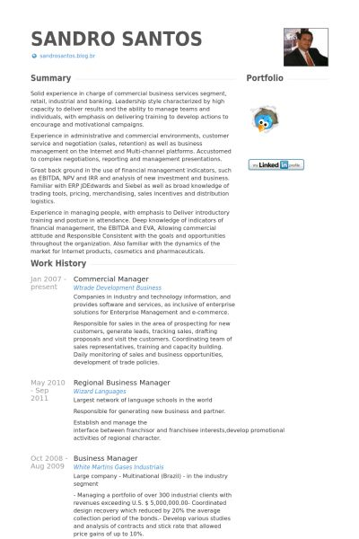 Commercial Manager Resume samples - VisualCV resume samples database