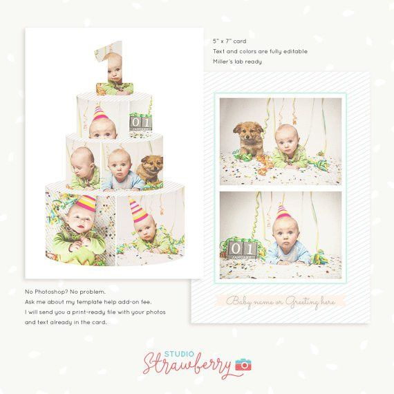 First Birthday card template Birthday Cake collage Cake