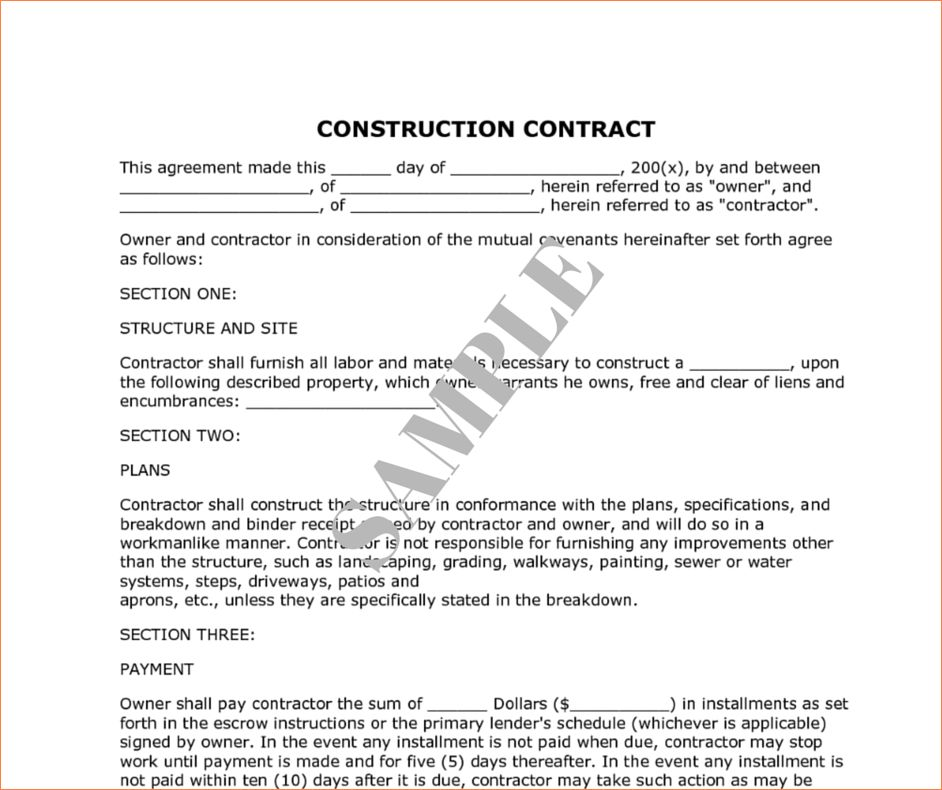 8+ construction contract sampleReport Template Document | report ...