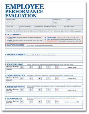 Employee Evaluation Forms - Resume Templates