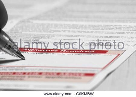 Signing credit card agreement form Stock Photo, Royalty Free Image ...