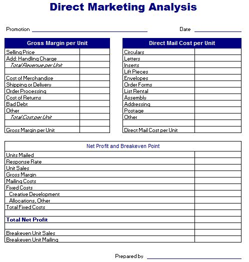 Direct Marketing Analysis Template | Excel Templates