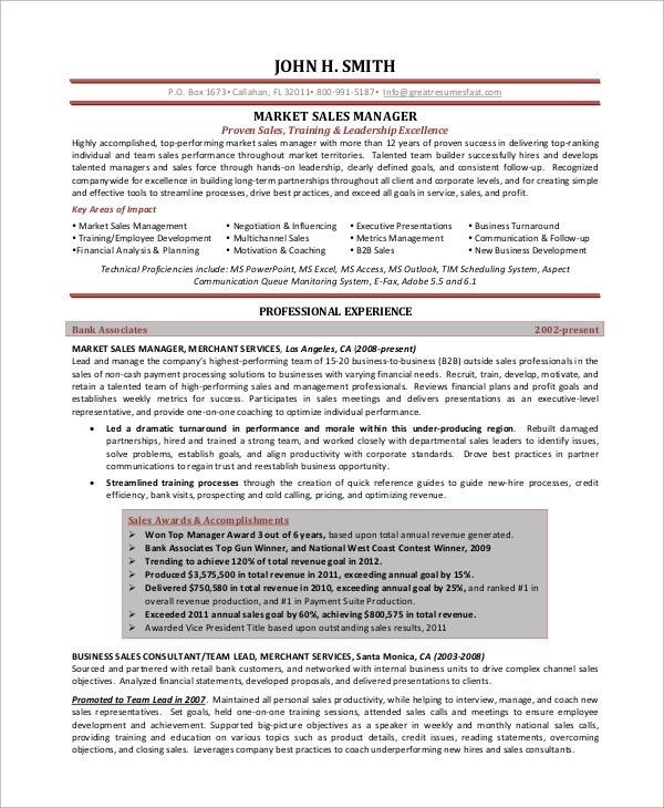 territory inside sales manager resume sample templates free eric w ...