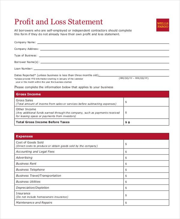 Sample Profit and Loss Form - 9+ Free Documents in PDF