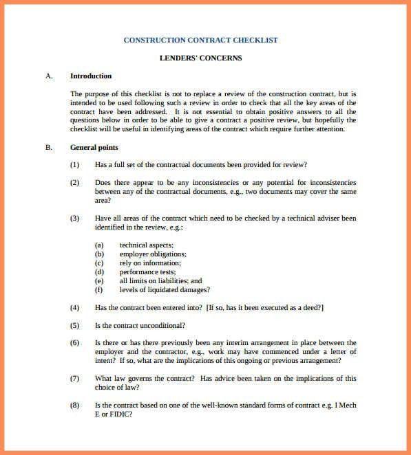 Simple Construction Contract.construction Contract Checklist ...