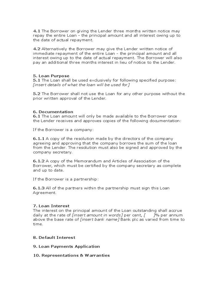 Loan Agreement Form - UK Free Download