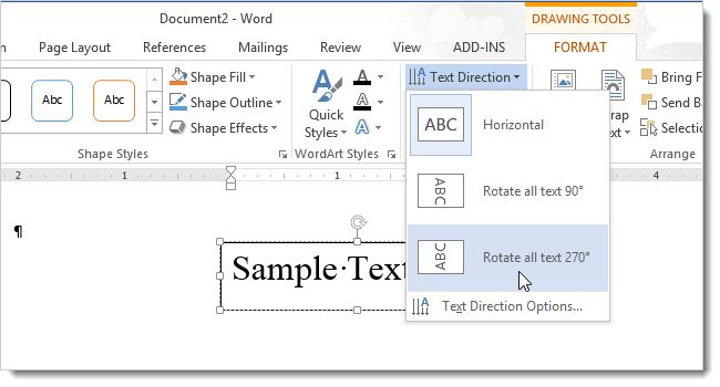 How to Change the Direction of Text in Word 2013