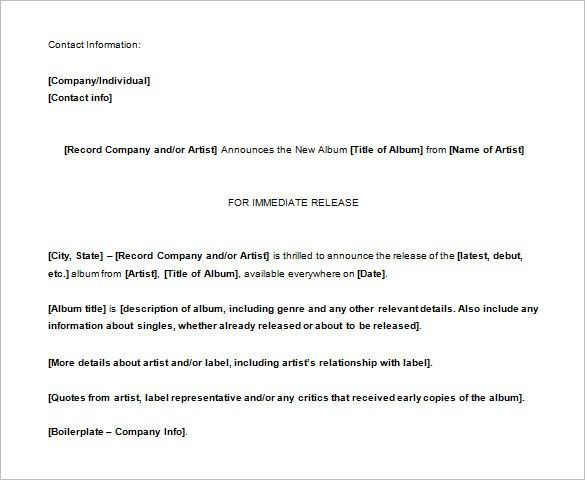 Press Release Template U2013 37+ Free Word, Excel, PDF Format Download .