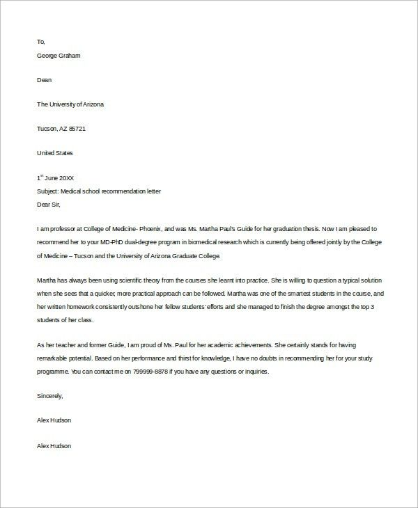 Example Letter of Recommendation - 8+ Samples in Word, PDF