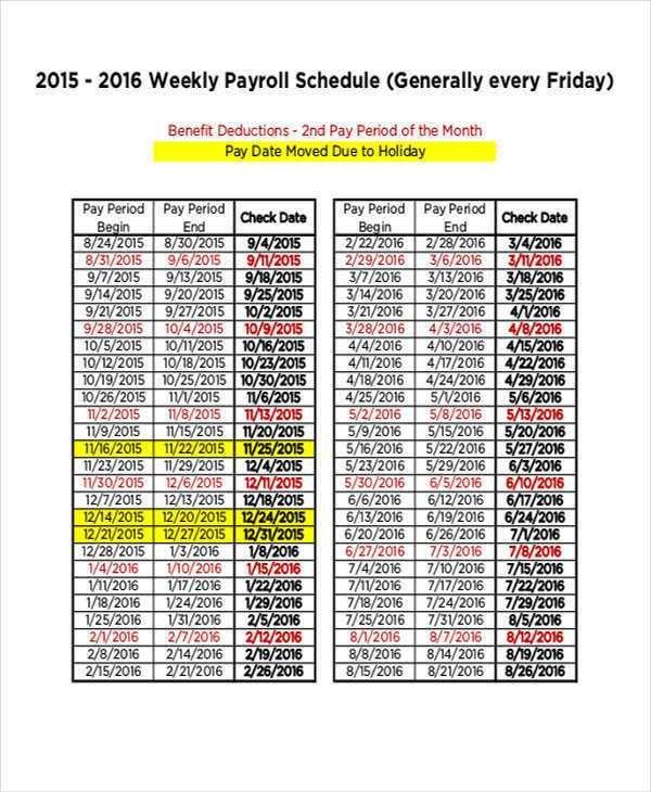 Payroll Schedule Templates | Free & Premium Templates
