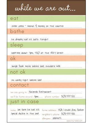 Best 25+ Babysitter checklist ideas only on Pinterest ...