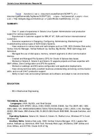 Marvellous Linux Administrator Resume 1 Year Experience 83 In Free ...
