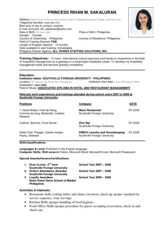 more standard format of resume in canada standard canadian resume ...