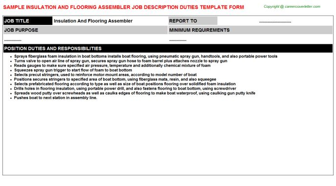 Insulation And Flooring Assembler Job Description