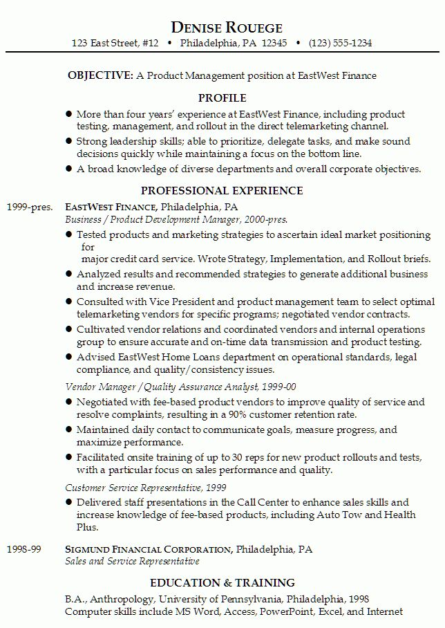 Product Manager Resume Sample | Experience Resumes