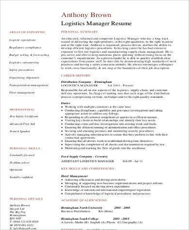 sample logistics manager resume logistics manager cv template