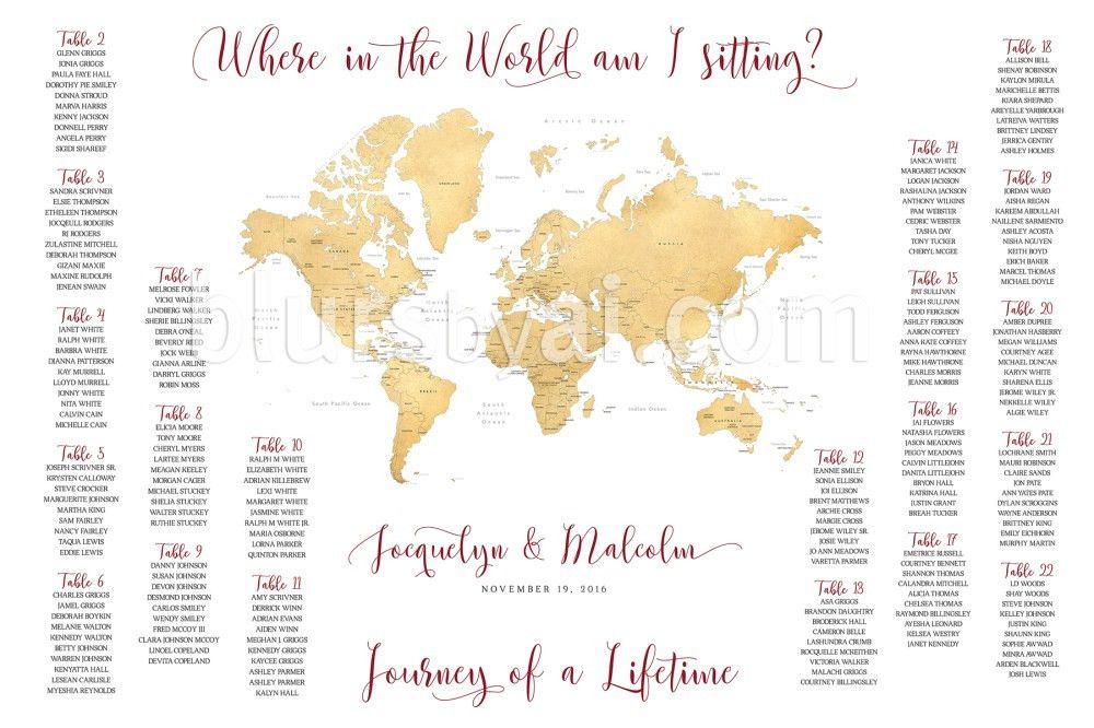 Travel Themed Wedding – Printable Seating Charts – Blursbyai
