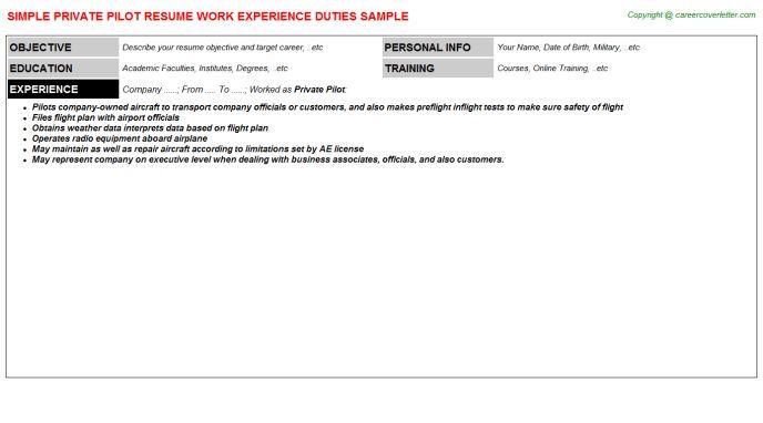 Private Pilot Resume Sample