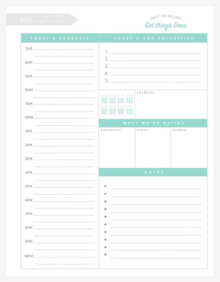 Daily To Do List | Meals, Free printable and Planners