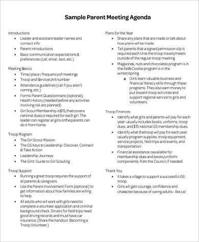8+ Sample Meeting Agenda - Free Sample, Example, Format Download