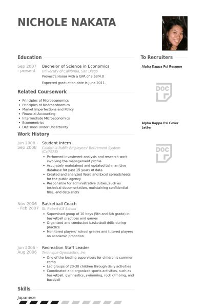 Student Intern Resume samples - VisualCV resume samples database