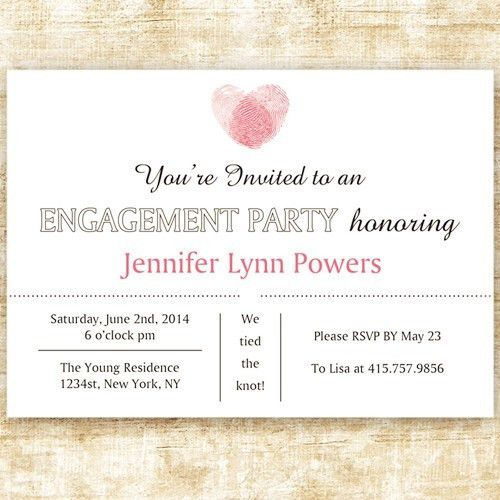 pink fingerprint custom discount engagement party invites EWEI015 ...