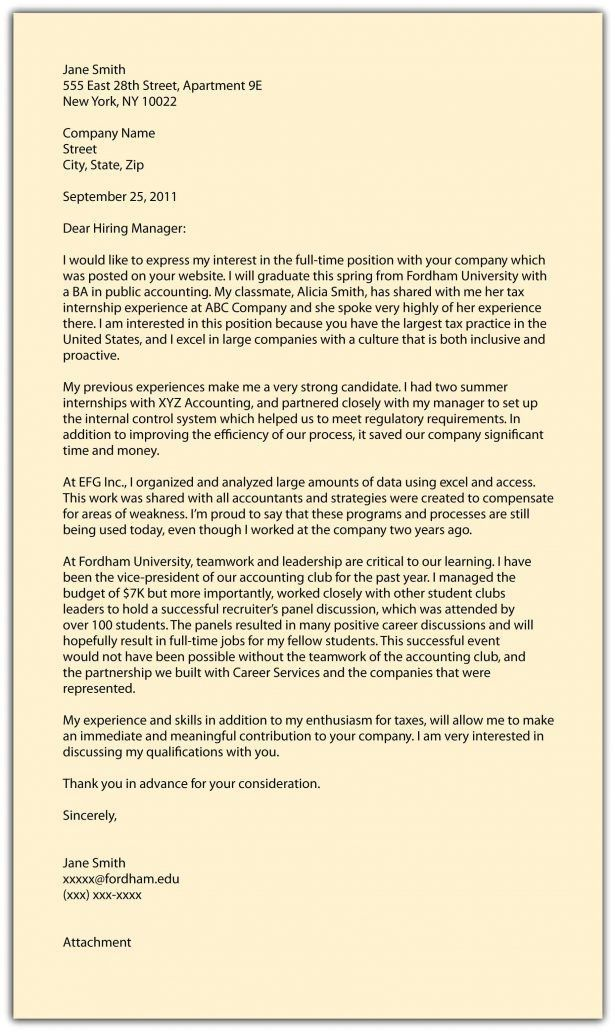 Curriculum Vitae : Example Cover Letter Job Application A ...