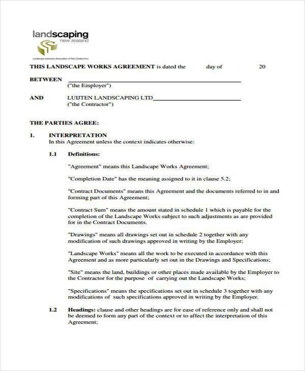 Landscaping Contract Template Lawn Maintenance Contract. Sample .
