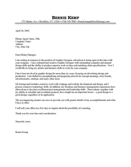 graphic design cover letter example. entry level graphic designer ...