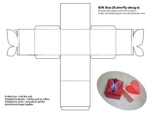 Gift box love and butterfly design - Free template and tutorial
