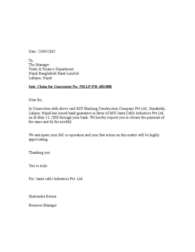 Bank Guarantee Release Letter